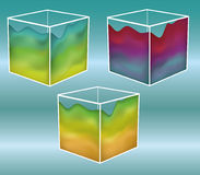 Painted cubes. Note: Gradient Meshes are used. This is a set of 3D cubes with a gradient mesh on the outside. White portions are outlines and are separate so you vector illustration