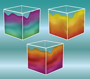 Painted cubes. Note: Gradient Meshes are used. This is a set of 3D cubes with a gradient mesh on the outside. White portions are outlines and are separate so you royalty free illustration