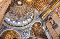Painted cupola of the Saint Peter`s basilica dome Stock Images