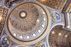 Painted cupola of the Saint Peter`s basilica dome Stock Photo