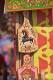 Painted cutting boards for sale at the festival of Slavic cultur. Russia, St. Petersburg, 10,06,2018 Painted cutting boards for sale at the festival of Slavic Stock Images