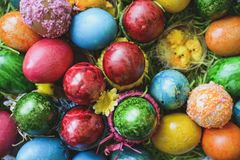 Painted and decorated easter eggs, colorful and abstract composition. stock photography