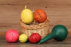 Painted decorative pumpkins Stock Images