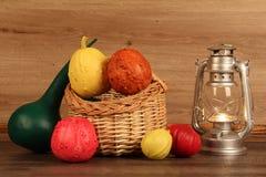 Painted decorative pumpkins Stock Photography