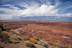 Painted Desert. View with high clouds Stock Photos