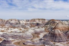 Painted Desert in Petrified Forest National Park. The Teepees are a formation which is part of the Blue Mesa Member in the Chinle Formation.They are located in stock photos