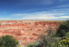 Painted Desert In Petrified Forest Np, Arizona. View of the Painted Desert in Petrified Forest NP Stock Photos