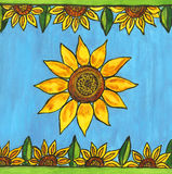 Painted design with sunflowers Royalty Free Stock Image
