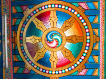 Painted detail at the temple entrance Royalty Free Stock Photography