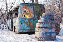 Painted and dirty rusty old broken bus Royalty Free Stock Images