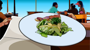 Painted dish of salad and meat served in a cafe Royalty Free Stock Images