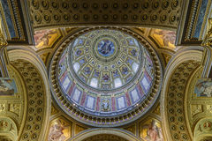 Painted dome of the Basilica of St. Stephen.Budapest Royalty Free Stock Photo