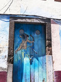 Painted door in the centre of Funchal on the Island of Madiera Royalty Free Stock Images