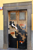 Painted door in Funchal, Madeira, Portugal Royalty Free Stock Photos