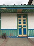 Painted doorway in Salento Colombia. Shanby chic colourful blue and green doorway Royalty Free Stock Photo