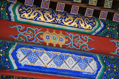 Painted dragons and geometric and floral patterns decorate a palace (China). Painted dragons and geometric and floral patterns decorate the lintels of a palace Royalty Free Stock Photo