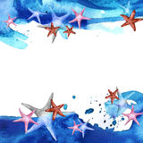 Painted drawing watercolor background with starfish and blue wave Royalty Free Stock Photo