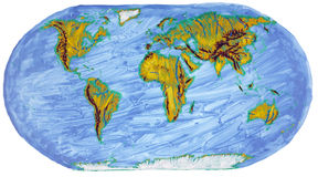 Painted Earth primitive map Royalty Free Stock Photography
