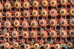 Painted Earthen pots Royalty Free Stock Image