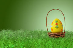 Painted Easter egg in a basket. On grass on green background Stock Photos