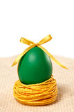 Painted Easter Egg with bow in nest on white background. Painted Easter Egg green with bow in nest on white background Royalty Free Stock Photography