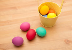 Painted easter egg in bucket Royalty Free Stock Photography