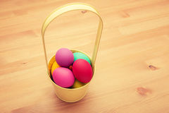 Painted easter egg in bucket Stock Photos