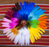 Painted Easter Egg Circle Feathers Royalty Free Stock Images