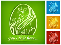 Painted Easter egg on color & text Royalty Free Stock Photo