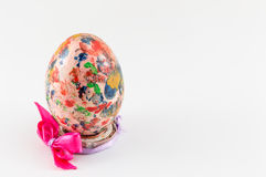 Painted Easter egg in custom egg holder Royalty Free Stock Images