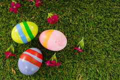 Painted Easter egg on grass Stock Image