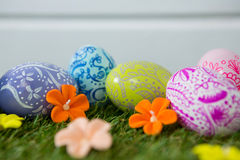 Painted Easter egg on grass Royalty Free Stock Photos