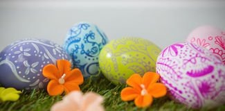 Painted Easter egg on grass Stock Photography