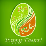 Painted Easter egg on green & text Stock Photos