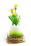 Painted easter egg with a yellow flowers Royalty Free Stock Photography