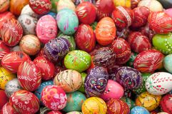 Painted Easter Eggs 1. Stack of various painted wooden easter eggs Royalty Free Stock Image