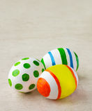 Painted easter eggs. Closeup of three painted easter eggs Royalty Free Stock Photo