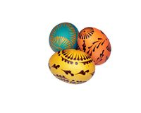 Painted Easter eggs. Painted with wax Easter eggs. Isolated Royalty Free Stock Photo