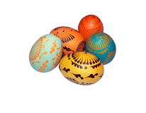 Painted Easter eggs 2. Painted with wax Easter eggs. Isolated Stock Photography