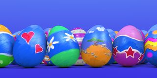 Painted Easter Eggs. Eggs painted in beautiful bright colors as is traditionally done at Easter Stock Photography