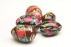 PAINTED EASTER EGGS. A set of five easter eggs in different colorful designs stock photos