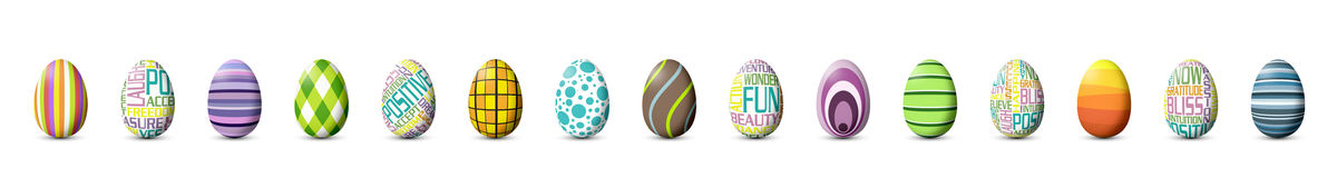 Painted Easter Eggs. Fifteen colorfully painted easter eggs in a row, isolated an white background Royalty Free Stock Photography