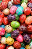 Painted Easter Eggs. Stack of various painted wooden easter eggs Royalty Free Stock Photos