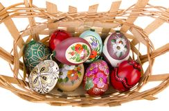Painted easter eggs in basket Royalty Free Stock Images