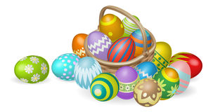 Painted Easter eggs in basket illustration Stock Image