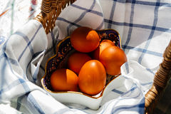 Painted Easter eggs in a basket Stock Photo