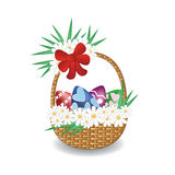 Painted Easter eggs in basket vector illustration. Vector  illustration of decorated colourful Easter eggs in a basket with flowers and the red bow isolated on Royalty Free Stock Photo
