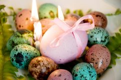 Painted Easter eggs big and small Royalty Free Stock Photo