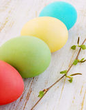 Easter eggs with birch branch. Painted Easter eggs with a blossoming birch branch royalty free stock photo