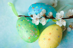 Painted easter eggs and branches of spring sakura closeup on a light blue background with space for congratulation. Colorful easter eggs and branch with flowers Royalty Free Stock Images